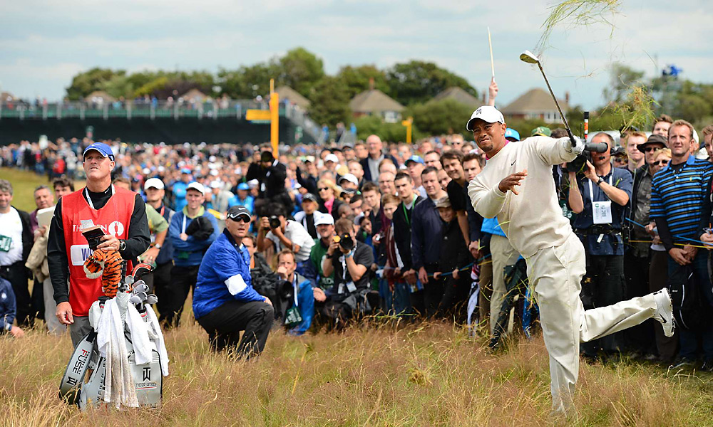 Woods hacked out of deep rough in his opening round at the British Open in July. He shot a 67 on Thursday, but struggled on the weekend and tied for third.