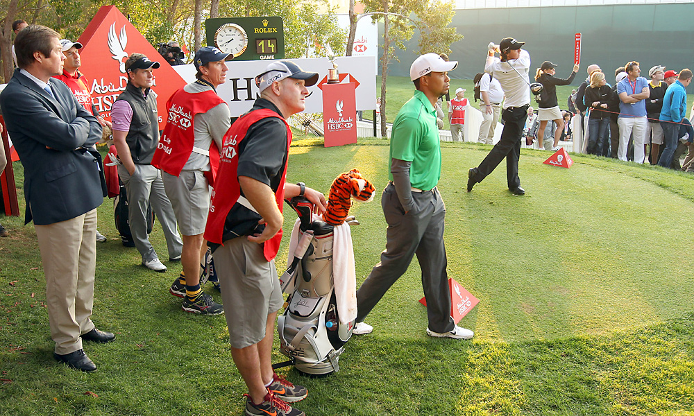 Woods was in a group with Rory McIlroy and Luke Donald.