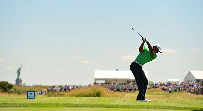 Tiger Woods began the third round five shots behind leader Matt Kuchar. He shot a two-under 69 and is in contention for his sixth win of the season on Sunday.