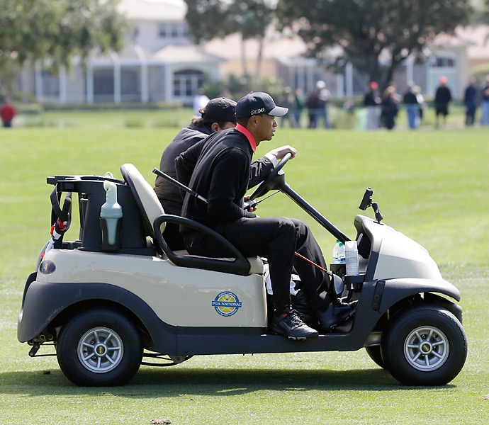 Woods had to be carted back to the tee on the sixth hole after failing to find his original tee shot. He went on to double-bogey the hole.