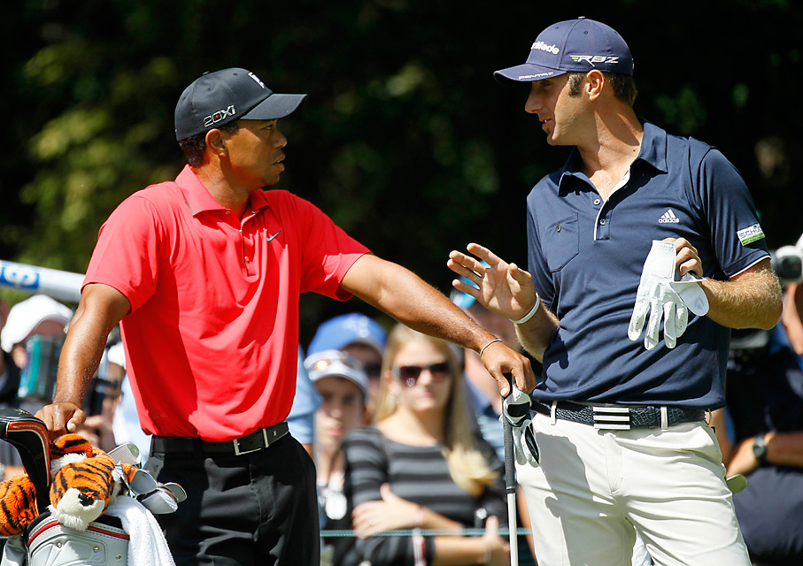 Woods was paired with Dustin Johnson in the final round.