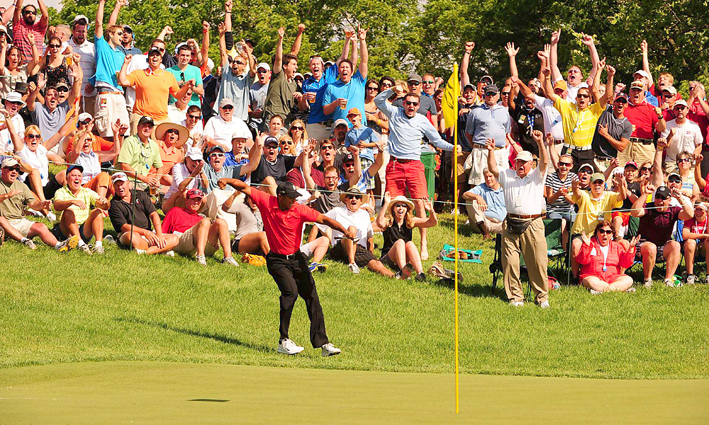 """Tiger's flop-shot hole-out at the Memorial, which even Nicklaus called the """"most unbelievable, gutsy shot"""" he'd ever seen. (Granted, he's biased. It's his tournament.) - Connell Barrett"""