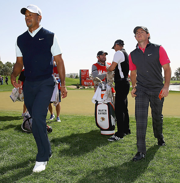 Woods and McIlroy were paired together for the first two rounds of the 2013 Abu Dhabi Golf Championship. It was McIlroy's first event after announcing a blockbuster endorsement deal with Nike, but the event was a dud for both players, as each failed to make the cut.