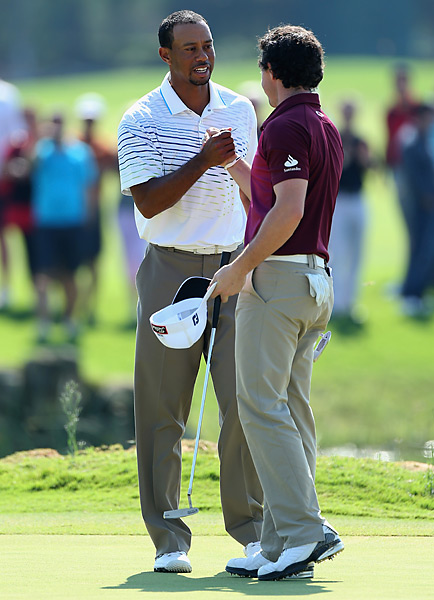 Woods advanced to the semifinals and a match with Justin Rose, while McIlroy was eliminated from the event.