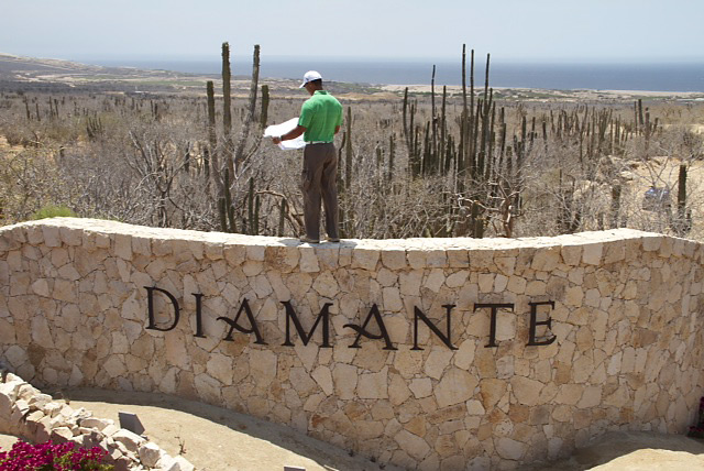 El Cardonal is Tiger Woods's new golf course design at Diamante, a high-end real estate enclave in the Mexican resort town of Cabo San Lucas. The 17th tee of the new course will be just beyond the entrance wall where Woods was standing on a recent visit.
