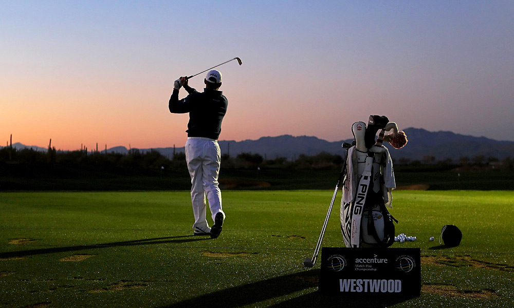 It wasn't much lighter when Lee Westwood hit the range to warm up for his 7:20 a.m. tee time with Rory McIlroy.