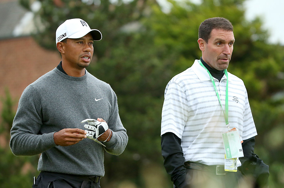 Woods was joined by his agent, Mark Steinberg, on Monday.