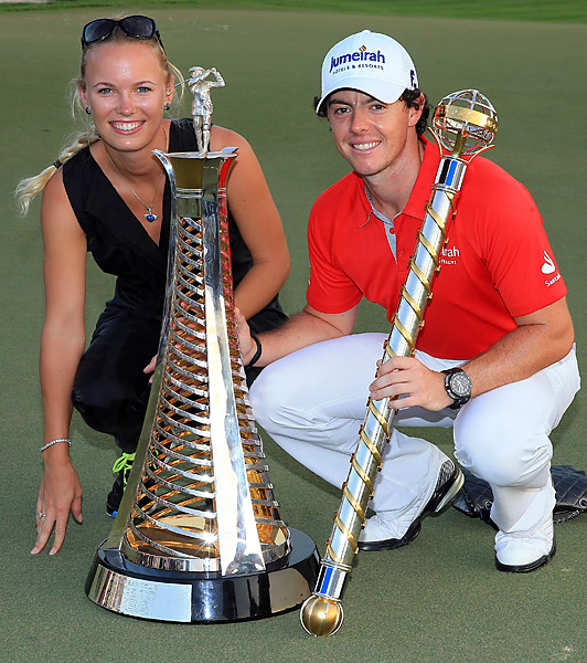 Nov. 25, 2012: Wozniacki posed with McIlroy after the top-ranked golfer won the Dubai World Championship for his fifth title of the season. Wozniacki also grabbed a headline when she dropped in on McIlroy's press conference earlier in the week.