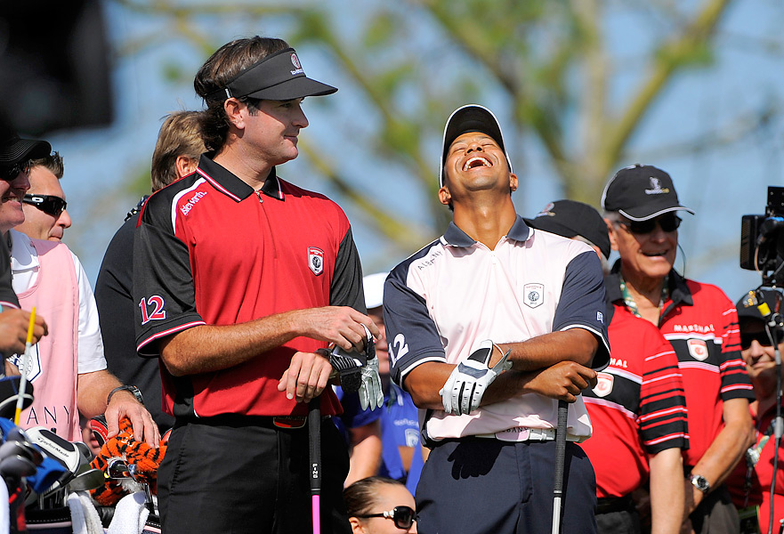 Bubba Watson and Tiger Woods shared a laugh on the opening tee during Monday's first round.