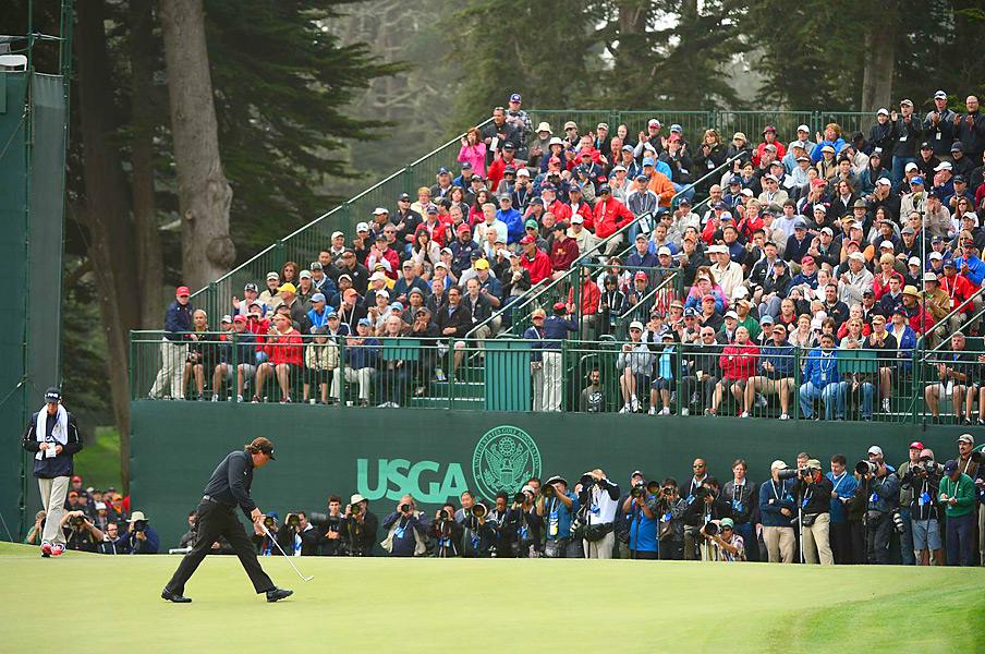 Mickelson's second tee shot found the fairway, he hit his approach close and made the putt for a tough bogey.