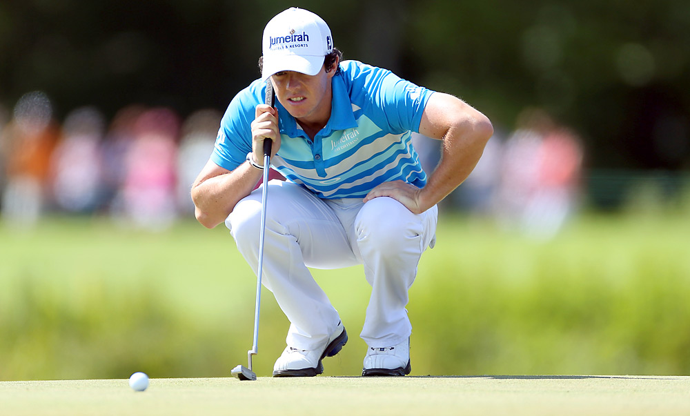 McIlroy began the day with a one-shot lead. He shot a 67, and trails Oosthuizen by three shots.