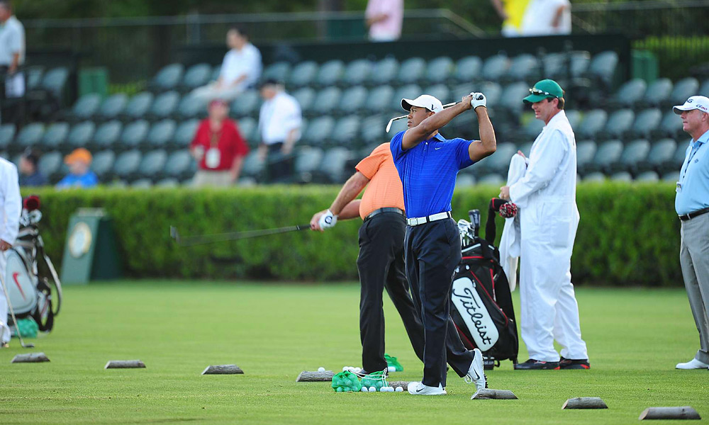 Tiger Woods was one of the first players on the driving range Monday morning.