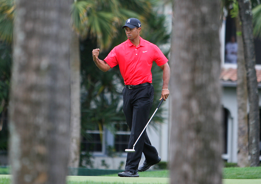 Woods shot a four-under 31 on the front nine to pull into contention.