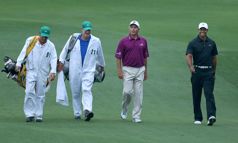Woods was joined by Fred Couples in his Tuesday round.