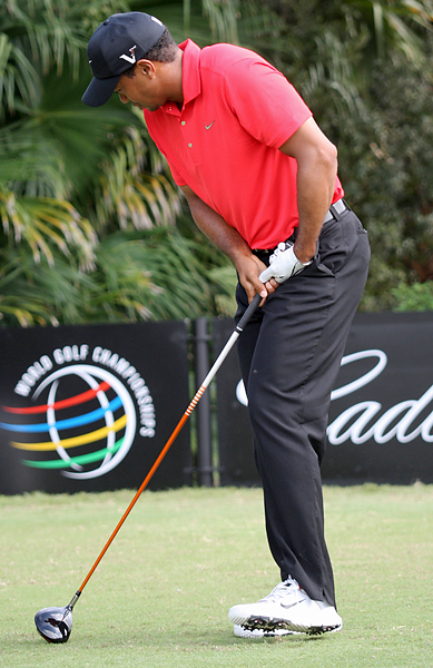 March 11, 2012 Woods withdrew from the final round of the WGC-Cadillac Championship at Doral after hitting his tee shot on the 12th hole. Woods was carted off the course, and immediately drove off the premises. He later said through a representative that it was an injury to his left Achilles, which became sore during his warm-up and grew progressively worse throughout the round.