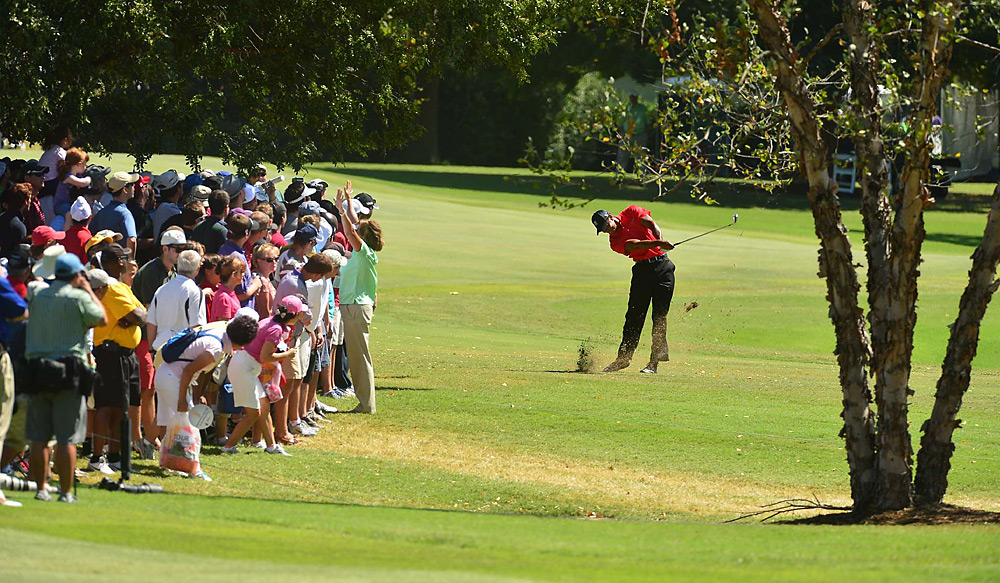 Woods stumbled to a three-over 38 on the front nine.