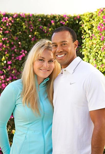 Tiger Woods and Lindsey Vonn                                              After months of rumors, Woods and Vonn confirmed their relationship with dueling Facebook announcements on March 19, 2013.