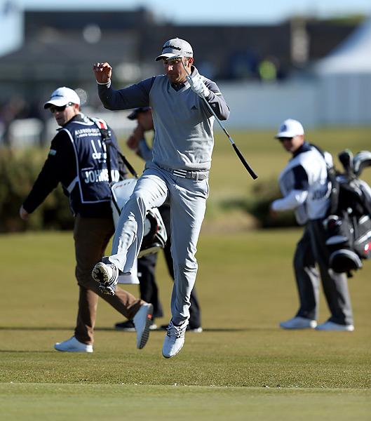One of four Ryder Cuppers in the field, Dustin Johnson jumped over the burn on the first hole at St. Andrews, then went on to shoot a 70 and tied for 47th.