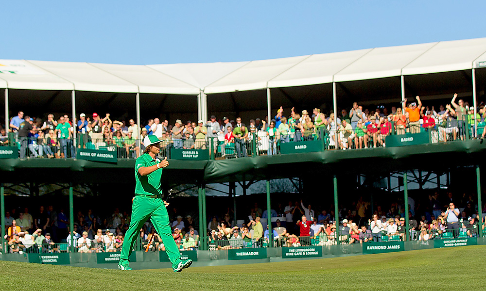 Rickie Fowler fired up the crowd in an all-green ensemble during the third round.