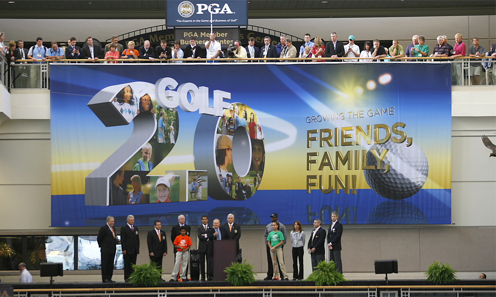Jack Nicklaus (at podium) gave a speech to kick off the show Thursday morning.