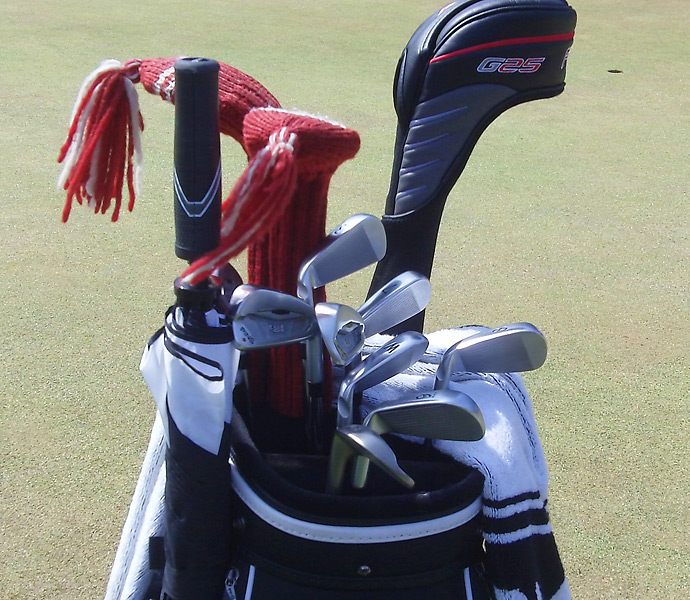 He uses the Ping G25 driver and Ping S56 irons.