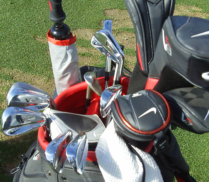 "Francesco Molinari sports Nike VR Pro Blade irons with a custom (""FM"") stamping."