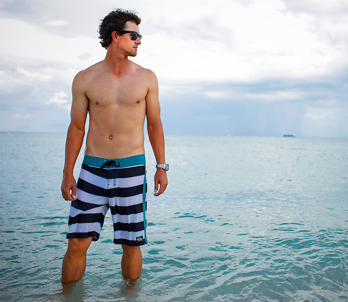 Adam Scott                                              Surfing helps keep this super-fit Aussie in shape and feeling good, mentally and physically.