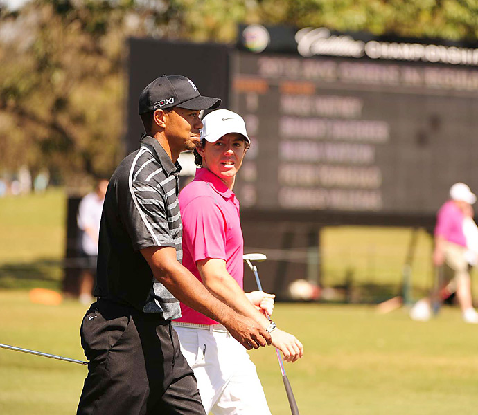 McIlroy and Woods were paired together for the opening two rounds at the 2013 WGC-Cadillac Championship at Doral. McIlroy entered the week ranked No. 1, while Woods was No. 2. (Luke Donald, ranked No. 3, was the third member of the threesome.) Woods shot 66-65 in the opening two rounds and went on to win the event. McIlroy shot 73-69, but rallied on the weekend to finish tied for eighth.