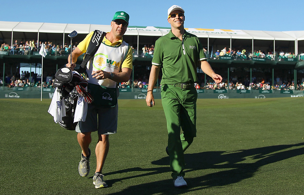 Crane was all smiles while leaving the 16th green.