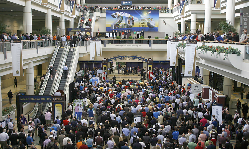 Who said the economy is struggling? A huge crowd gathered for opening day at the 2012 PGA Merchandise Show. More than 1,000 vendors representing every business sector of golf were on hand to show off their latest products.