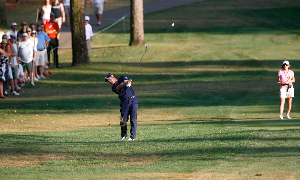 Luke Donald set up his first victory of 2012 with this shot out of the rough on the first hole of sudden death.