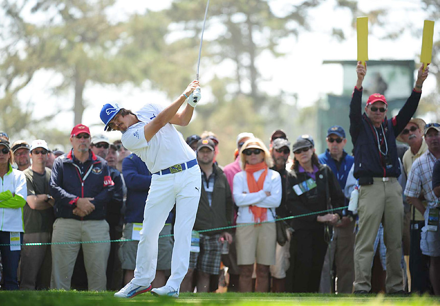 Rickie Fowler finished with birdies on 16 and 17 to make the cut on the number at eight over par.