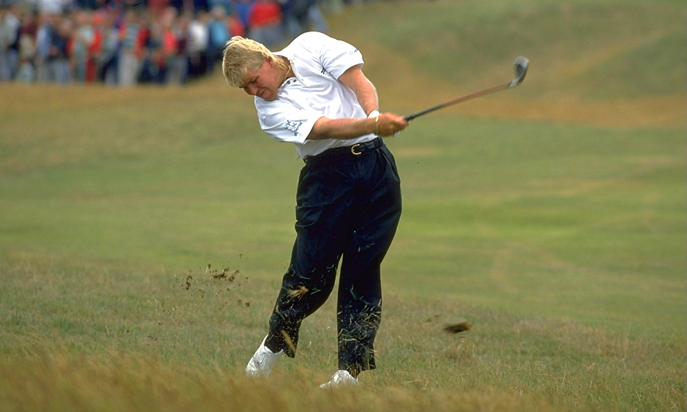 John Daly rarely wore a hat early in his career, including at the 1993 British Open.