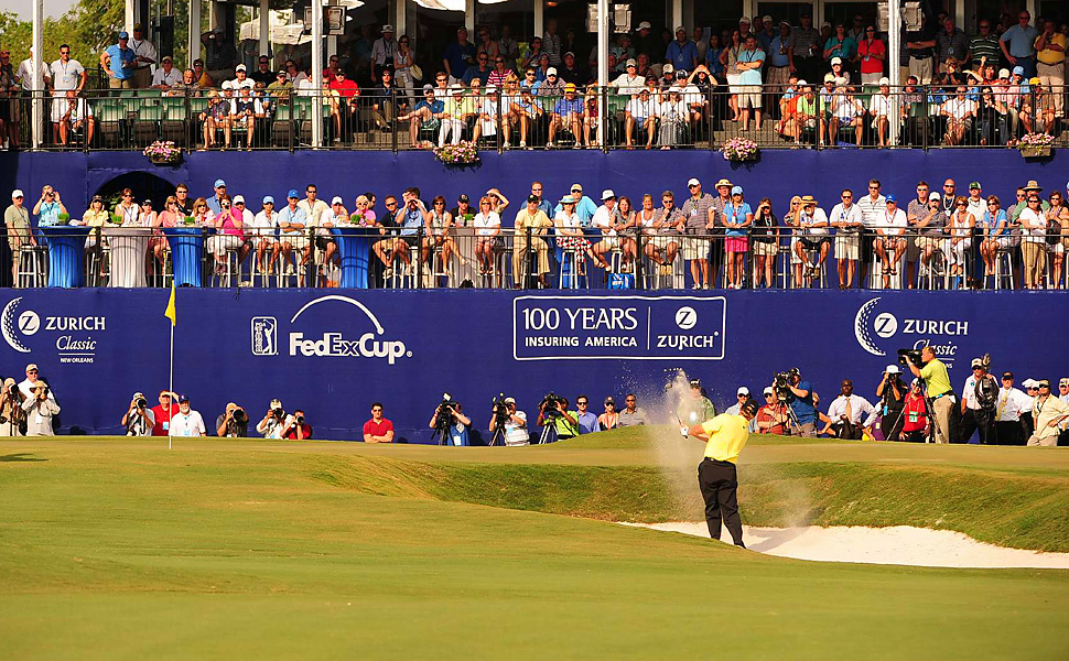 Ernie Els failed to get this sand shot up and down in regulation and settled for a par, which forced the playoff.