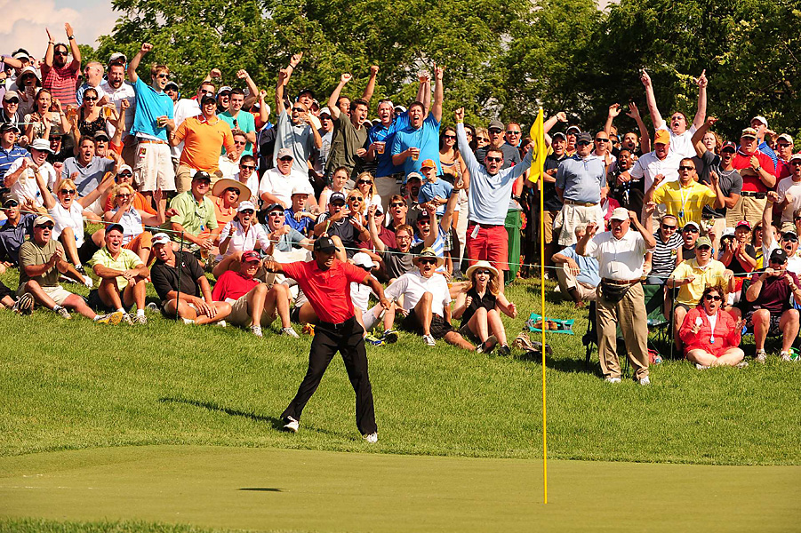 Tiger Woods shot a five-under 67 -- including this incredible chip-in for birdie on No. 16 -- to earn his second victory of the season and fifth career Memorial title.