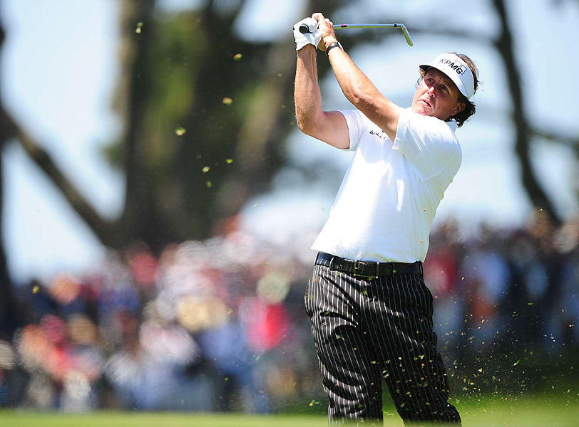 At seven over for the tournament, Mickelson will play the weekend at Olympic.