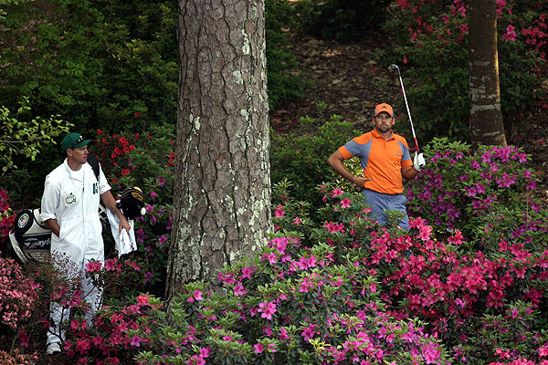 Far from the garden spot, Sergio Garcia had to hike through the flowers and the shrubs at Augusta National in order to find his ball.