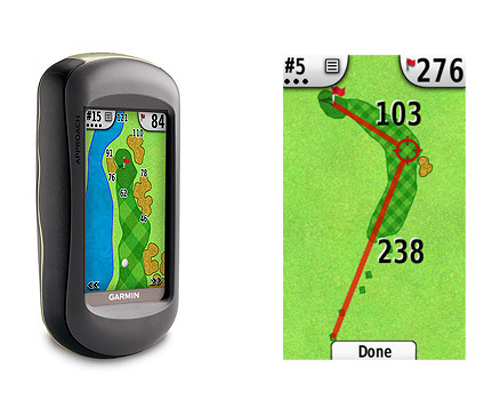 ($449) is a super-clear, color GPS device that is rugged, waterproof and features a touchscreen. The unit comes pre-loaded with more than 10,000 course maps and shows you the distance to exact points in the fairway, as well as to hazards and areas on the green.                      More information at garmin.com