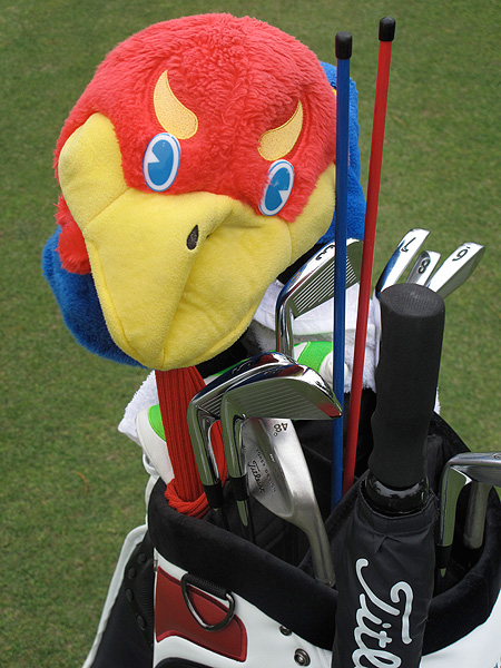 Rock-Chalk Jayhawk headcover. He played for Kansas from 2003-2007.