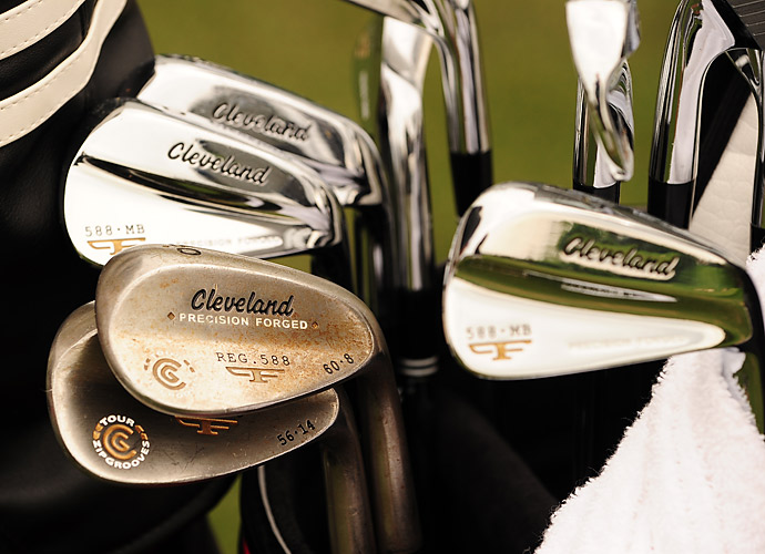 Cleveland player George McNeill carries 588 MB blade irons and well-worn 588 wedges.