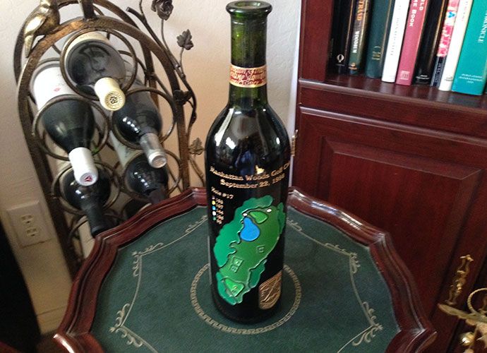 "This commemorative bottle from the Gary Player-designed Manhattan Woods near NYC recalls my 2005 ""audition"" round there with my future GOLF Magazine boss. We were teammates and I played like a choking dog for 16 holes. However, I drained a 20-footer for birdie at 17 and a 15-footer for par at 18 and we won, 1-up. I began employment two weeks later."