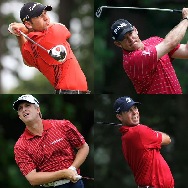 Scarlet fever swept Congressional. Several players, including (clockwise from top right) Sergio Garcia, Lee Westwood, Matt Kuchar and David Toms, made a splash in deep red shirts, trousers, and caps. Red is always a part of golf (especially because Tiger Woods always wears red on Sundays), but this was an explosion, with plenty of tomatoes and bright reds.