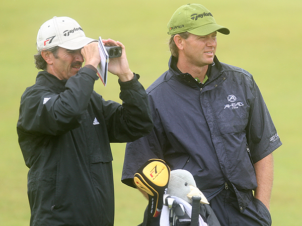 After winning the U.S. Open at both Southern Hills and Shinnecock Hills — and playing in the final group Sunday at Pinehurst — South Africa's Retief Goosen (right) has earned a reputation for playing hard golf courses very well. On Wednesday, Goosen and his caddie, Miles Byrne, locked in their targets using a laser range finder.