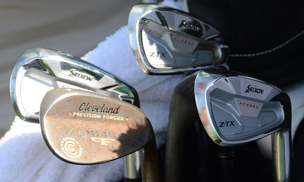 Graeme McDowell's Z-TX irons and rusty Cleveland Forged 588 wedge at Augusta National.