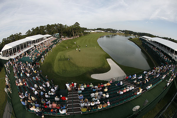 """The fisheye again, this time for Nathan Green's chip to the 18th green during the third round of The Players. The camera was mounted on a TV tower behind the grandstands, and I triggered it remotely."""