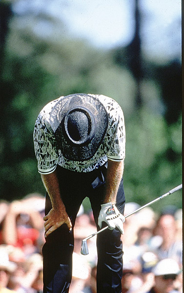 floundered in the final round of the 1996 Masters after leading by half a dozen shots.