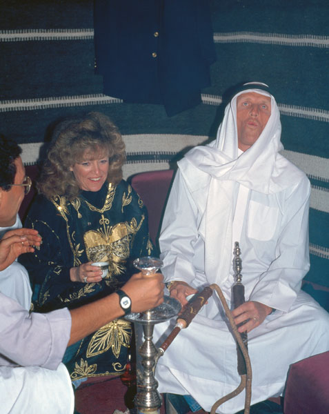 Greg Norman was likely trying to fit in with local custom when he donned this traditional garb and smoked tobacco from a hookah at a function following the 1997 Dubai Desert Classic.