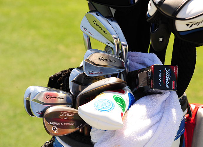 Greg Owen engraved his two daughter's names into his Vokey wedges.