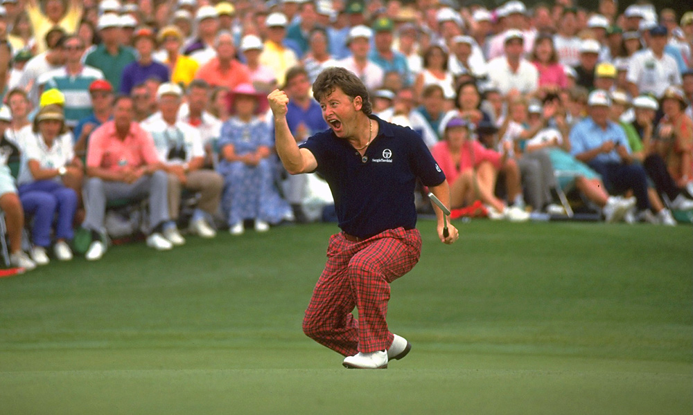 Ian Woosnam celebrates his win at the '91 Masters