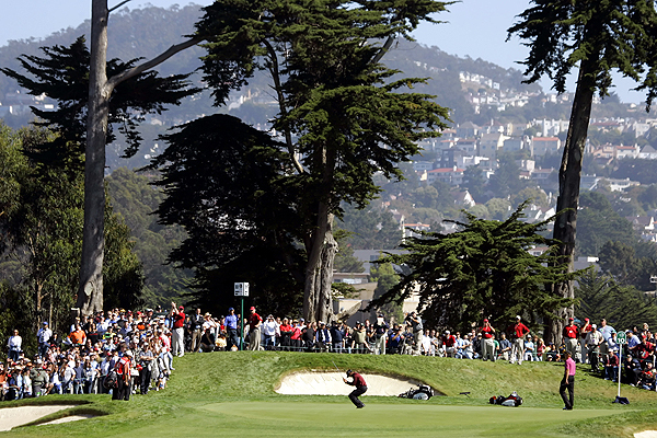 5. Harding Park Golf Course, San Francisco                       415-664-4690, harding-park.com                       $135-$155                       Architect: Willie Watson                       Perhaps John Daly's last hurrah took place at cypress tree-studded Harding Park when he missed a three-footer at the 2005 WGC-American Express Championship to lose a playoff to Woods. The match play feel will return when Harding hosts the 2009 Presidents Cup.